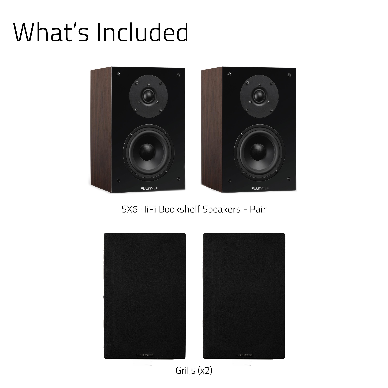 SX6 High Definition Two-way Bookshelf Loudspeakers - Natural Walnut